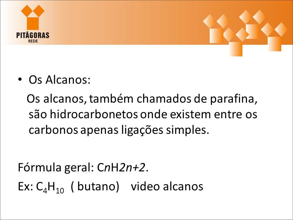 Os Alcanos: Os alcanos, também chamados de parafina, são hidrocarbonetos onde existem entre os carbonos apenas ligações simples. Fórmula geral: CnH2n+
