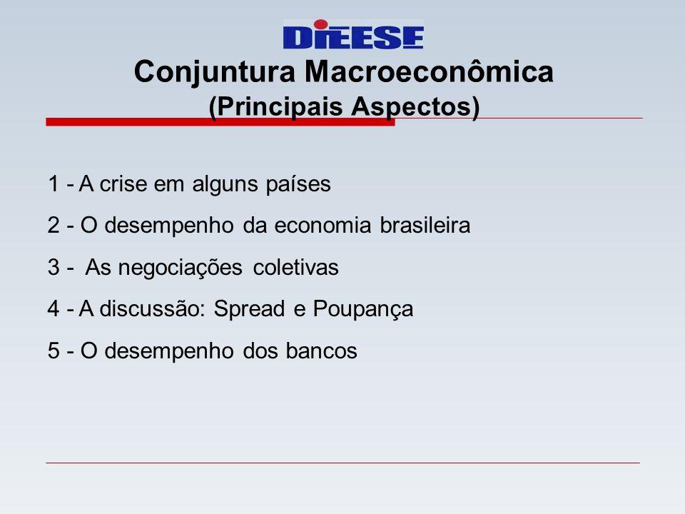 1 - A crise em alguns países 2 - O desempenho da economia brasileira 3 - As negociações coletivas 4 - A discussão: Spread e Poupança 5 - O desempenho