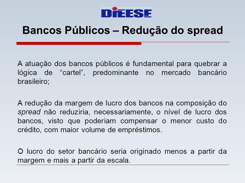 Bancos Públicos – Redução do spread A atuação dos bancos públicos é fundamental para quebrar a lógica de cartel, predominante no mercado bancário bras