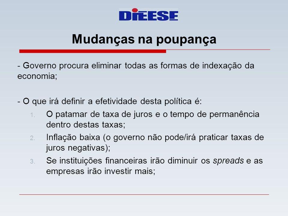 - Governo procura eliminar todas as formas de indexação da economia; - O que irá definir a efetividade desta política é: 1. O patamar de taxa de juros