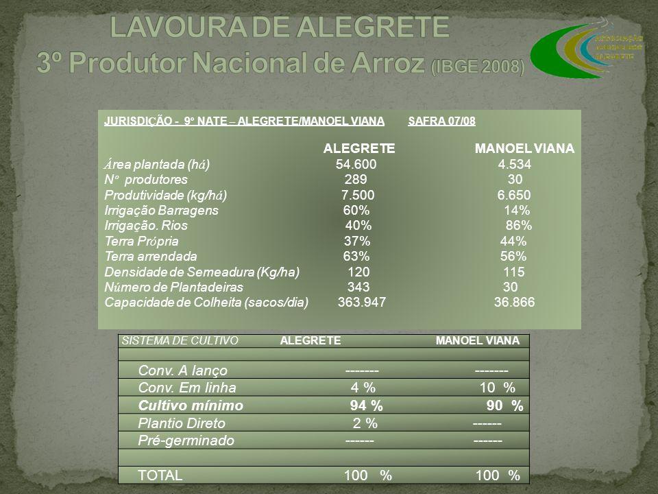 SISTEMA DE CULTIVO ALEGRETE MANOEL VIANA Conv. A lanço ------- ------- Conv. Em linha 4 % 10 % Cultivo mínimo 94 % 90 % Plantio Direto 2 % ------ Pré-