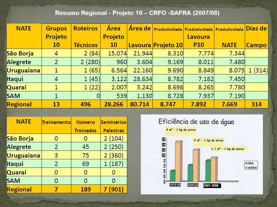 Resumo Regional - Projeto 10 – CRFO -SAFRA (2007/08) NATEGruposRoteirosÁreaÁrea de Produtividade Dias de Projeto 10Técnicos Projeto 10LavouraProjeto 1