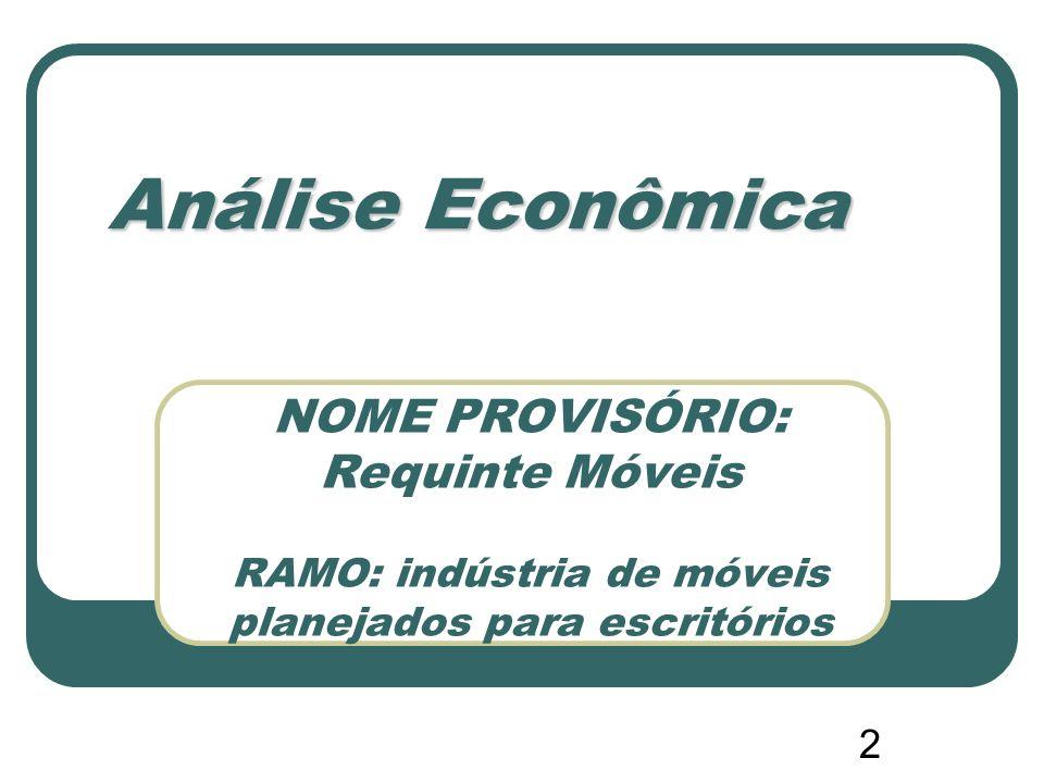 2 NOME PROVISÓRIO: Requinte Móveis RAMO: indústria de móveis planejados para escritórios Análise Econômica