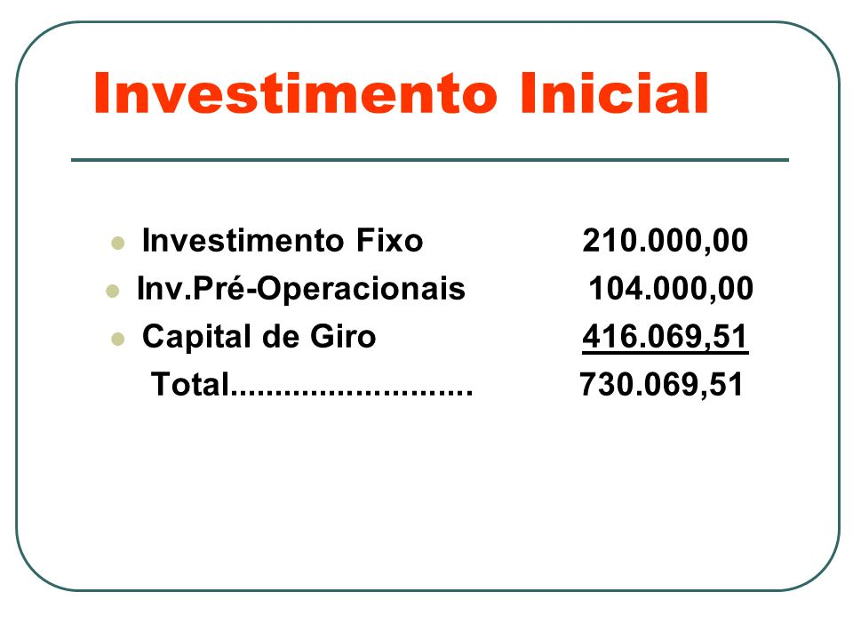 Investimento Inicial Investimento Fixo 210.000,00 Inv.Pré-Operacionais 104.000,00 Capital de Giro 416.069,51 Total........................... 730.069,