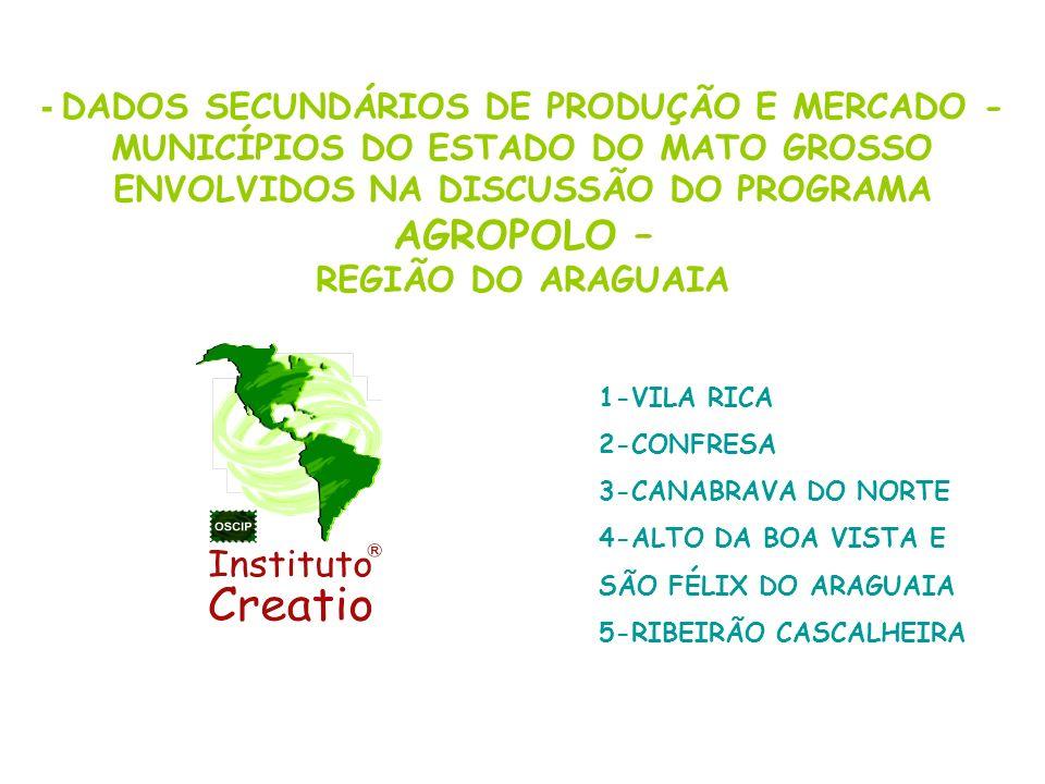 MUNICÍPIOS DO ESTADO DO MATO GROSSO ENVOLVIDOS NA DISCUSSÃO DO PROGRAMA AGROPOLO – REGIÃO DO ARAGUAIA A SEGUIR DADOS GERAIS SOBRE OS MUNICÍPIOS 1-VILA RICA 2-CONFRESA 3-CANABRAVA DO NORTE 4-ALTO DA BOA VISTA E SÃO FÉLIX DO ARAGUAIA 5-RIBEIRÃO CASCALHEIRA