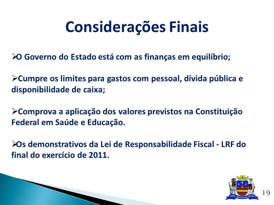 Considerações Finais O Governo do Estado está com as finanças em equilíbrio; Cumpre os limites para gastos com pessoal, dívida pública e disponibilida