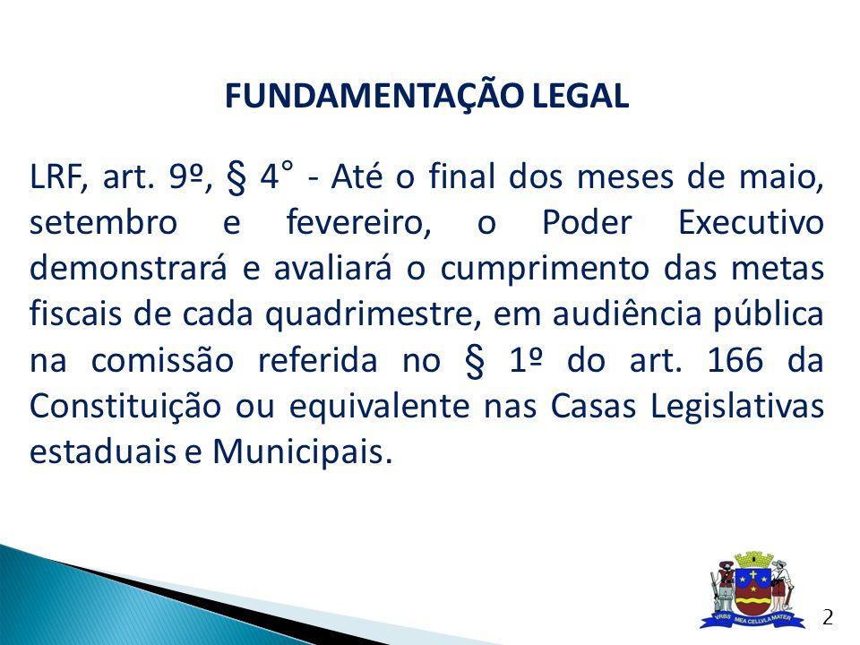FUNDAMENTAÇÃO LEGAL LRF, art. 9º, § 4° - Até o final dos meses de maio, setembro e fevereiro, o Poder Executivo demonstrará e avaliará o cumprimento d