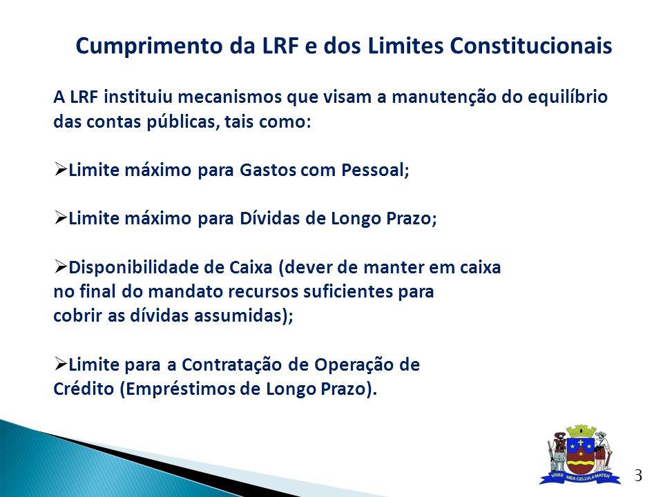 Cumprimento da LRF e dos Limites Constitucionais A LRF instituiu mecanismos que visam a manutenção do equilíbrio das contas públicas, tais como: Limit