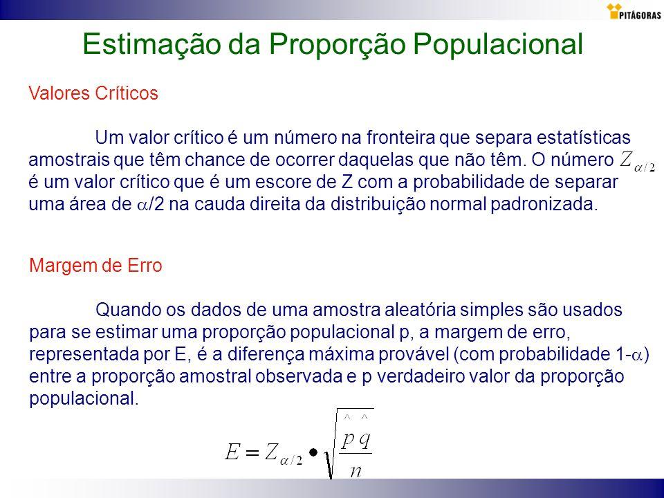 Valores Críticos Um valor crítico é um número na fronteira que separa estatísticas amostrais que têm chance de ocorrer daquelas que não têm. O número