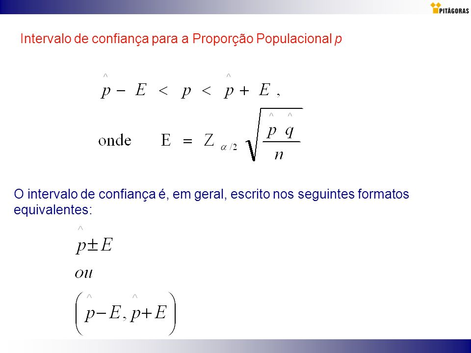 Intervalo de confiança para a Proporção Populacional p O intervalo de confiança é, em geral, escrito nos seguintes formatos equivalentes: