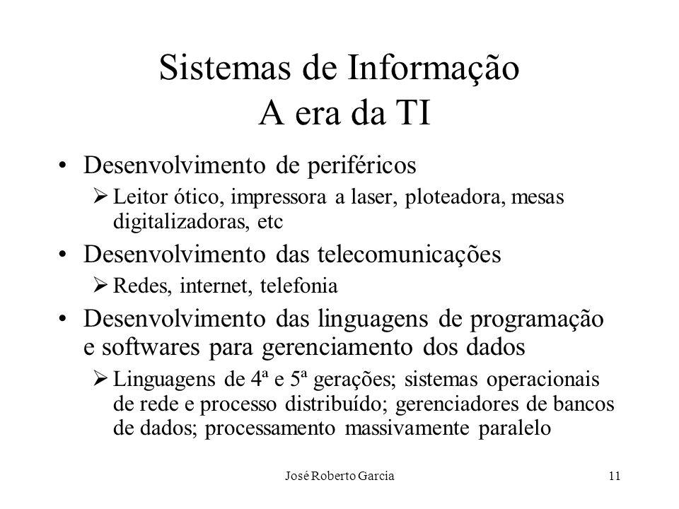 José Roberto Garcia11 Sistemas de Informação A era da TI Desenvolvimento de periféricos Leitor ótico, impressora a laser, ploteadora, mesas digitaliza