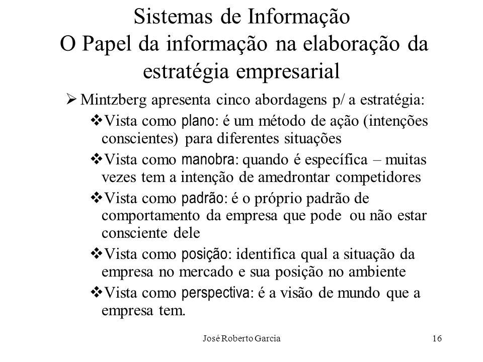 José Roberto Garcia16 Sistemas de Informação O Papel da informação na elaboração da estratégia empresarial Mintzberg apresenta cinco abordagens p/ a e