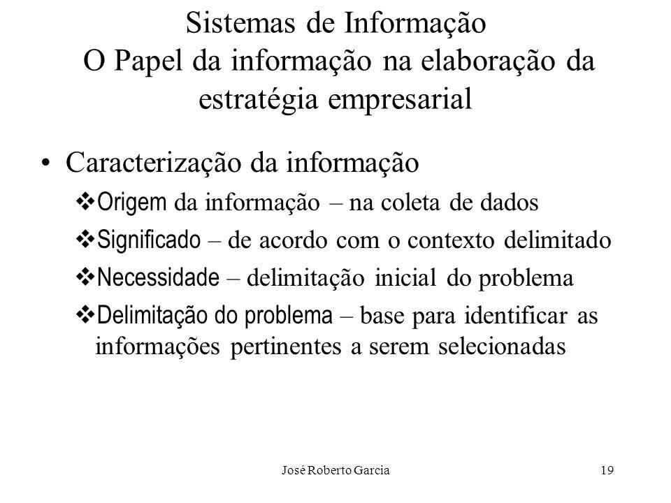 José Roberto Garcia19 Sistemas de Informação O Papel da informação na elaboração da estratégia empresarial Caracterização da informação Origem da info