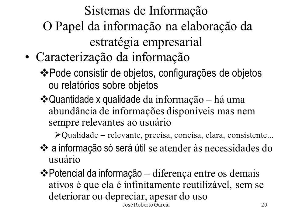 José Roberto Garcia20 Sistemas de Informação O Papel da informação na elaboração da estratégia empresarial Caracterização da informação Pode consistir