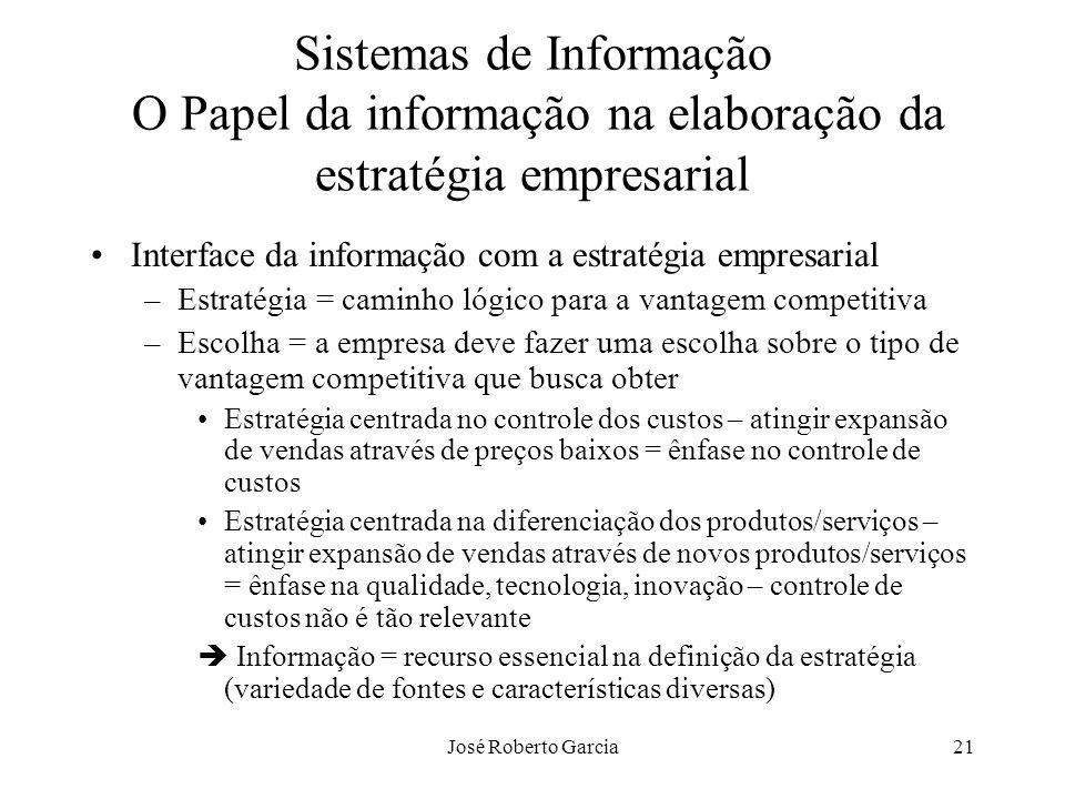 José Roberto Garcia21 Sistemas de Informação O Papel da informação na elaboração da estratégia empresarial Interface da informação com a estratégia em