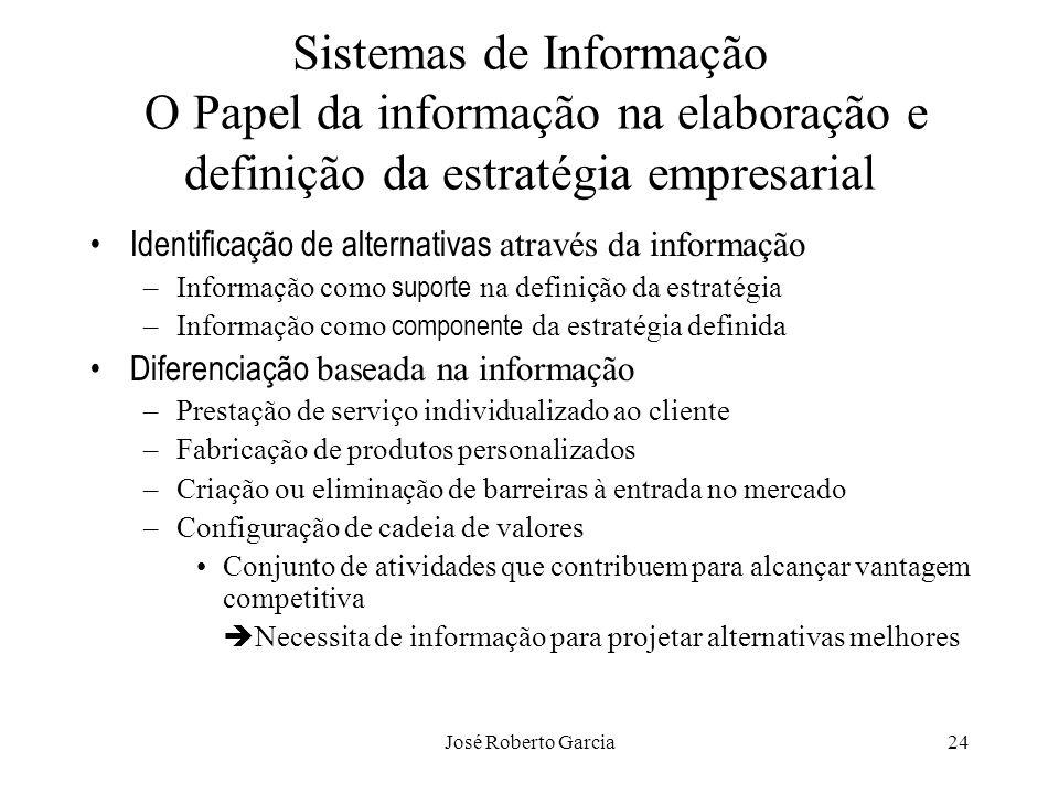 José Roberto Garcia24 Sistemas de Informação O Papel da informação na elaboração e definição da estratégia empresarial Identificação de alternativas a