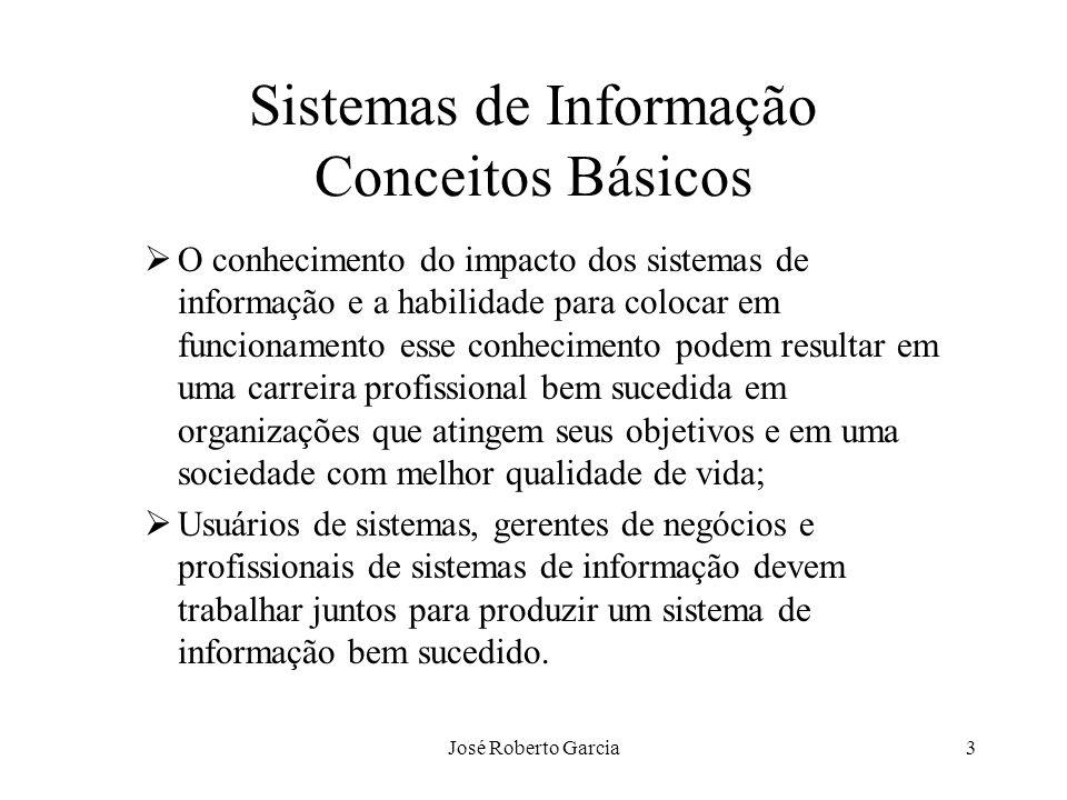 José Roberto Garcia24 Sistemas de Informação O Papel da informação na elaboração e definição da estratégia empresarial Identificação de alternativas através da informação –Informação como suporte na definição da estratégia –Informação como componente da estratégia definida Diferenciação baseada na informação –Prestação de serviço individualizado ao cliente –Fabricação de produtos personalizados –Criação ou eliminação de barreiras à entrada no mercado –Configuração de cadeia de valores Conjunto de atividades que contribuem para alcançar vantagem competitiva Necessita de informação para projetar alternativas melhores