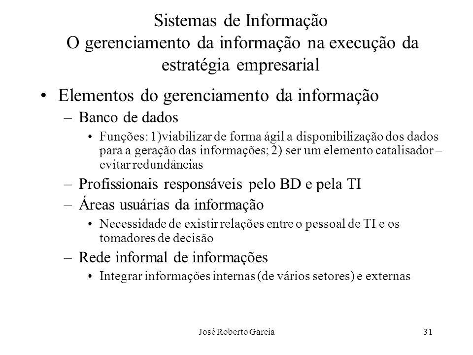 José Roberto Garcia31 Sistemas de Informação O gerenciamento da informação na execução da estratégia empresarial Elementos do gerenciamento da informa