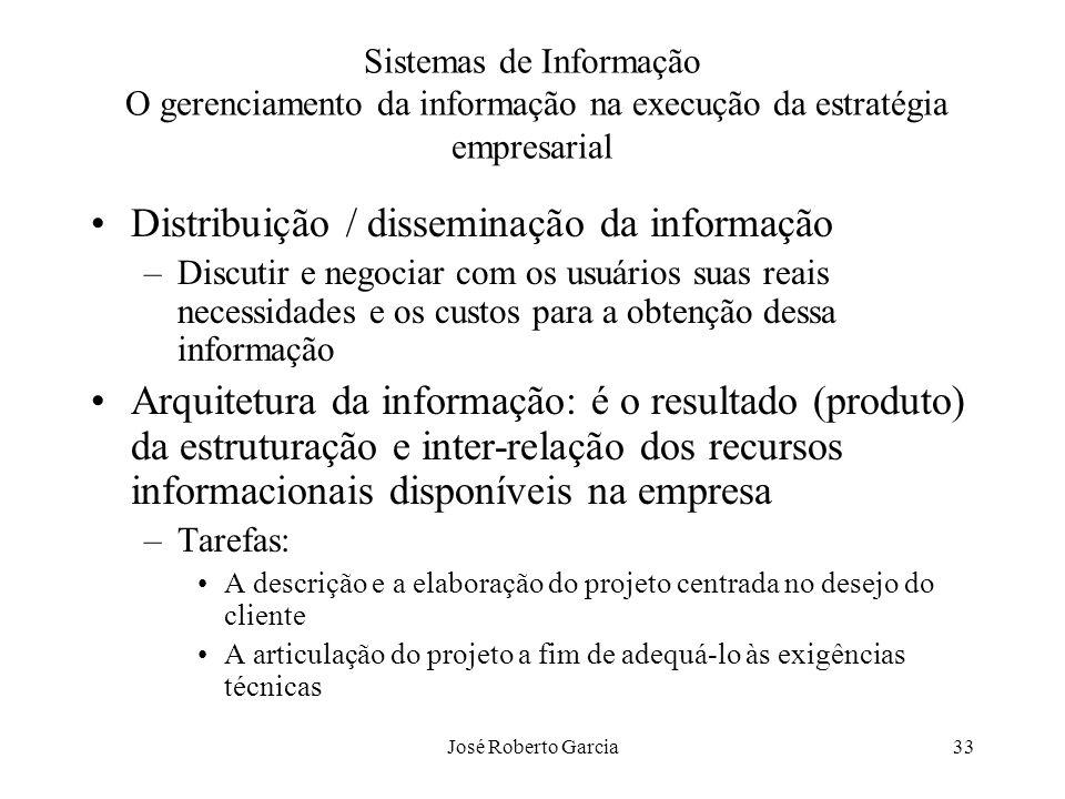 José Roberto Garcia33 Sistemas de Informação O gerenciamento da informação na execução da estratégia empresarial Distribuição / disseminação da inform