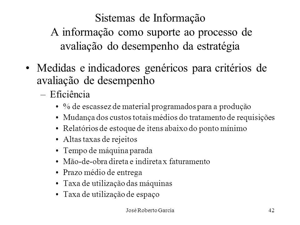 José Roberto Garcia42 Sistemas de Informação A informação como suporte ao processo de avaliação do desempenho da estratégia Medidas e indicadores gené
