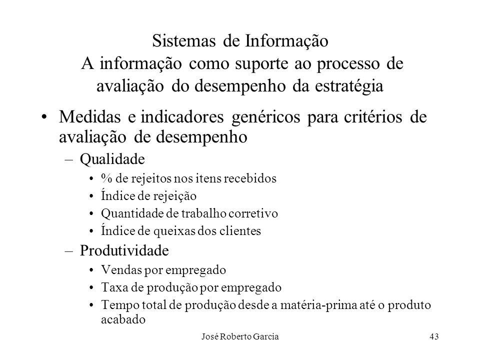 José Roberto Garcia43 Sistemas de Informação A informação como suporte ao processo de avaliação do desempenho da estratégia Medidas e indicadores gené