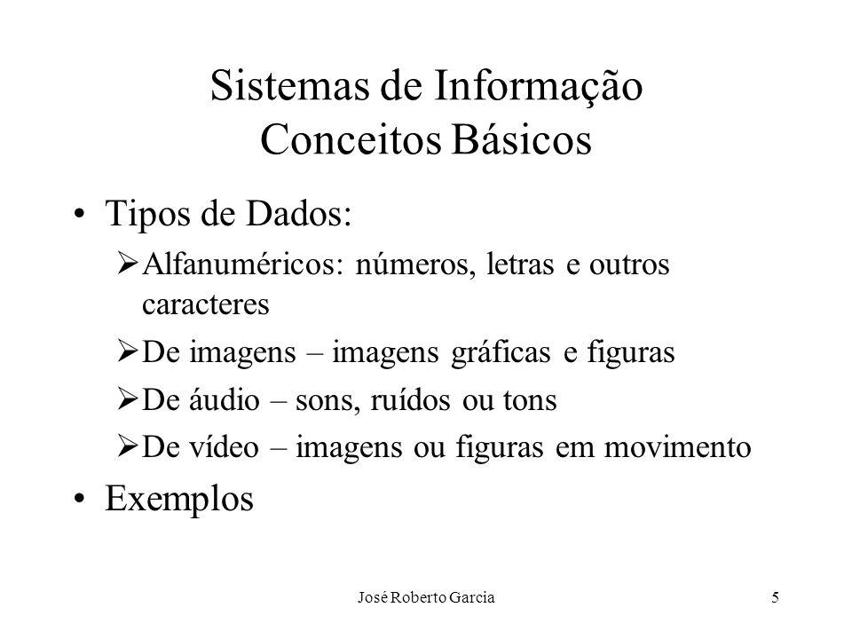 José Roberto Garcia5 Sistemas de Informação Conceitos Básicos Tipos de Dados: Alfanuméricos: números, letras e outros caracteres De imagens – imagens
