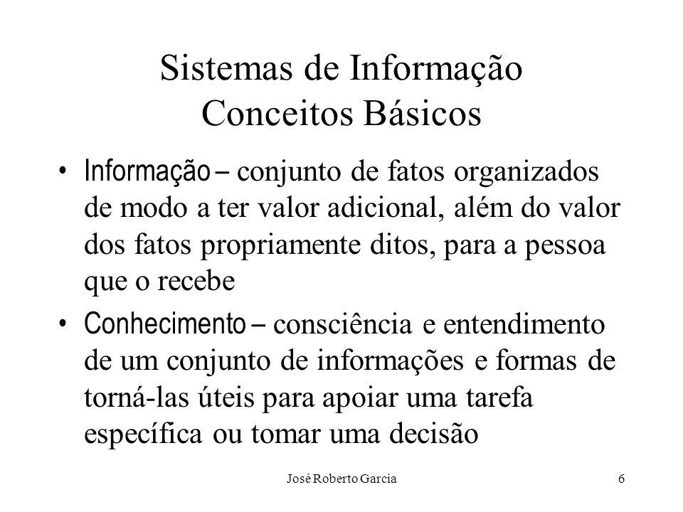 José Roberto Garcia6 Sistemas de Informação Conceitos Básicos Informação – conjunto de fatos organizados de modo a ter valor adicional, além do valor