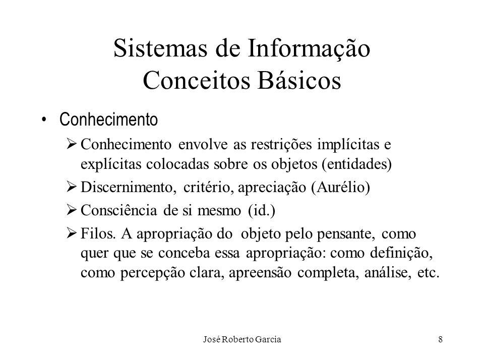 José Roberto Garcia8 Sistemas de Informação Conceitos Básicos Conhecimento Conhecimento envolve as restrições implícitas e explícitas colocadas sobre