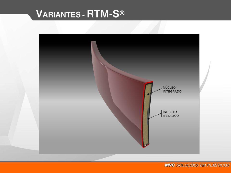 V ARIANTES - RTM-S Utilização de termoplástico com acabamento, eliminando-se totalmente processo de pintura SISTEMA 3 CAMADAS PMMA (Acrílico) ASA(cor+UV) ABS comum Blenda Termoplástica (melhorar processo conformação) ABS comum ASA (cor+UV) PMMA + pigmentos metalizados PMMA (Acrílico) SISTEMA 5 CAMADAS