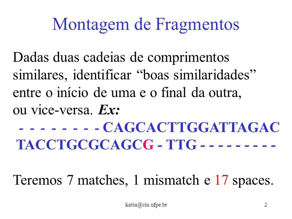 katia@cin.ufpe.br22 Alinhamento Local - Exemplo C A G C A C T C A T...
