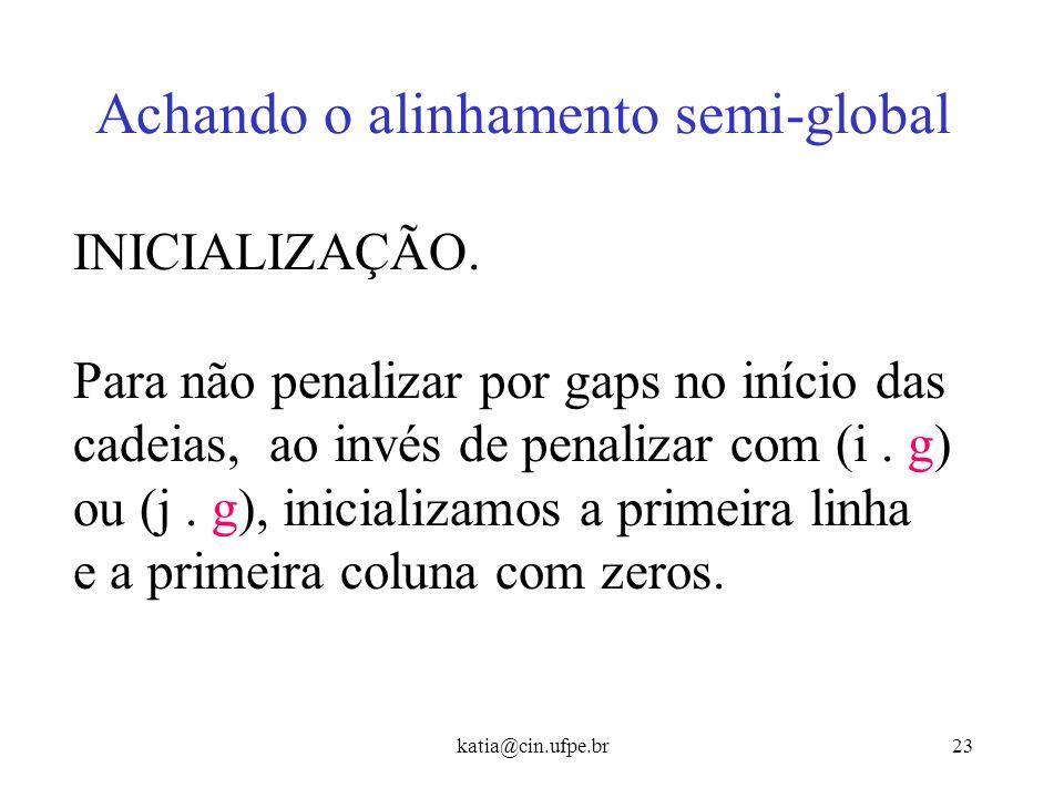 katia@cin.ufpe.br22 Alinhamento Local - Exemplo C A G C A C T C A T... T 0 0... CAGCACTCAT C 0 1 0... TCCAGCTCG C 0 1 0 0... A 0 0 2 0 0 2 0 0 0 2 0 G