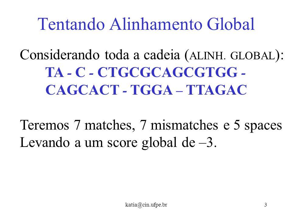 katia@cin.ufpe.br13 Achando o alinhamento semi-global Ou seja, não devemos nos preocupar com a continuação do alinhamento depois que a cadeia s termina (última linha).