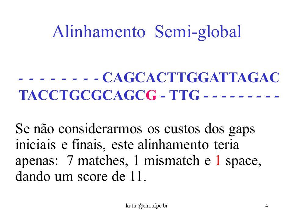 katia@cin.ufpe.br3 Tentando Alinhamento Global Considerando toda a cadeia ( ALINH. GLOBAL ): TA - C - CTGCGCAGCGTGG - CAGCACT - TGGA – TTAGAC Teremos