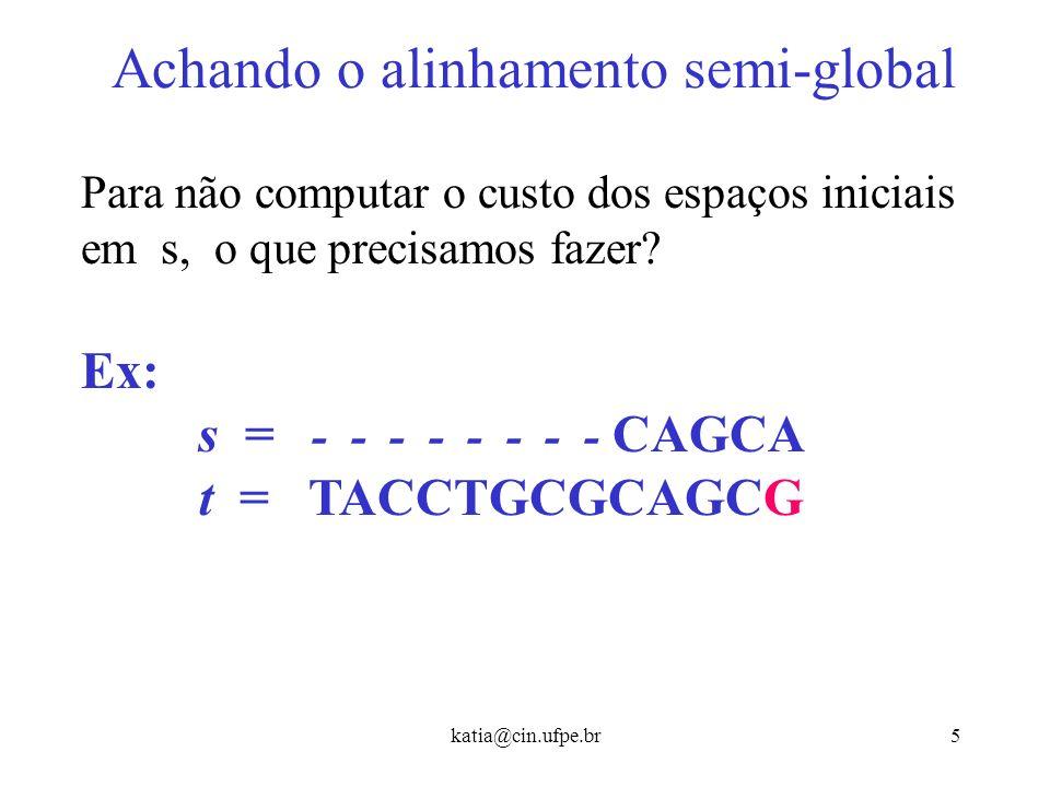 katia@cin.ufpe.br15 Alinhamento Local Dadas duas seqüências s e t, identificar o alinhamento de melhor score entre um substring de s e um substring de t.