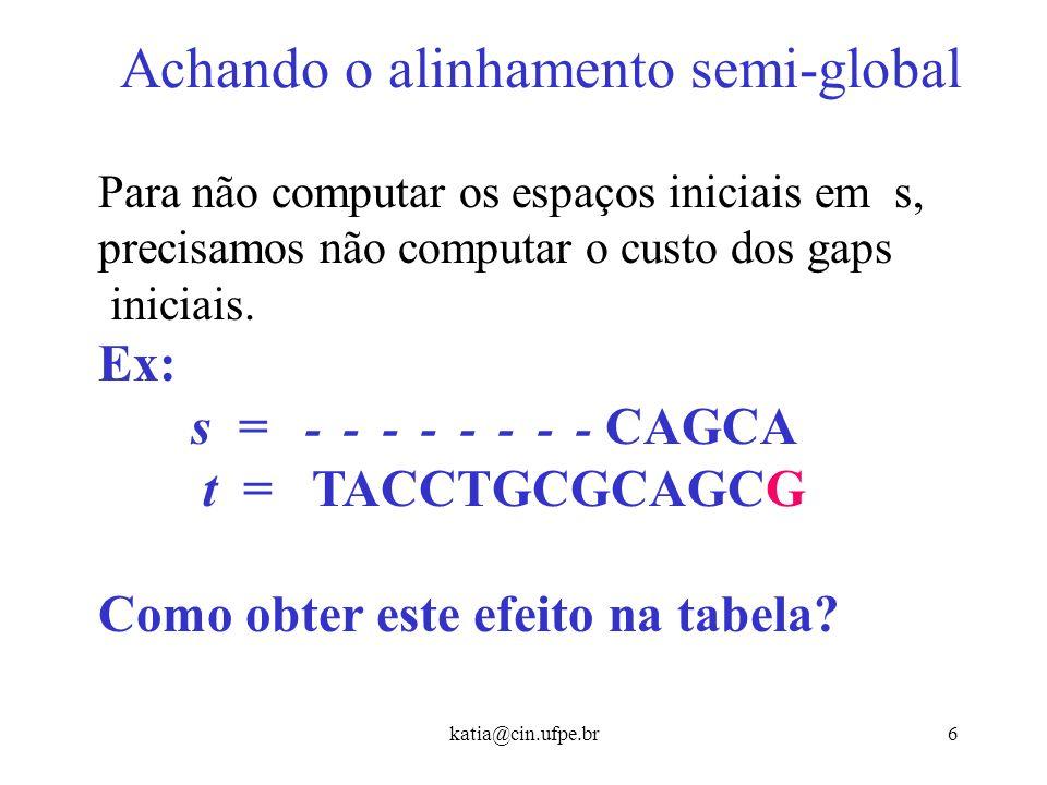 katia@cin.ufpe.br16 Alinhamentos Locais Ainda teremos uma matriz (m+1) (n+1) mas cada entrada (i, j) vai conter o maior score de um alinhamento entre um sufixo de s[1..i] e um sufixo de t[1..j].