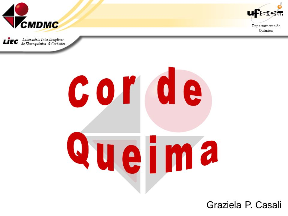 Departamento de Química Laboratório Interdisciplinar de Eletroquímica & Cerâmica Graziela P. Casali