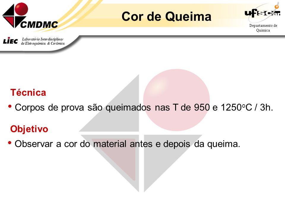 Departamento de Química Laboratório Interdisciplinar de Eletroquímica & Cerâmica Técnica Corpos de prova são queimados nas T de 950 e 1250 o C / 3h. C