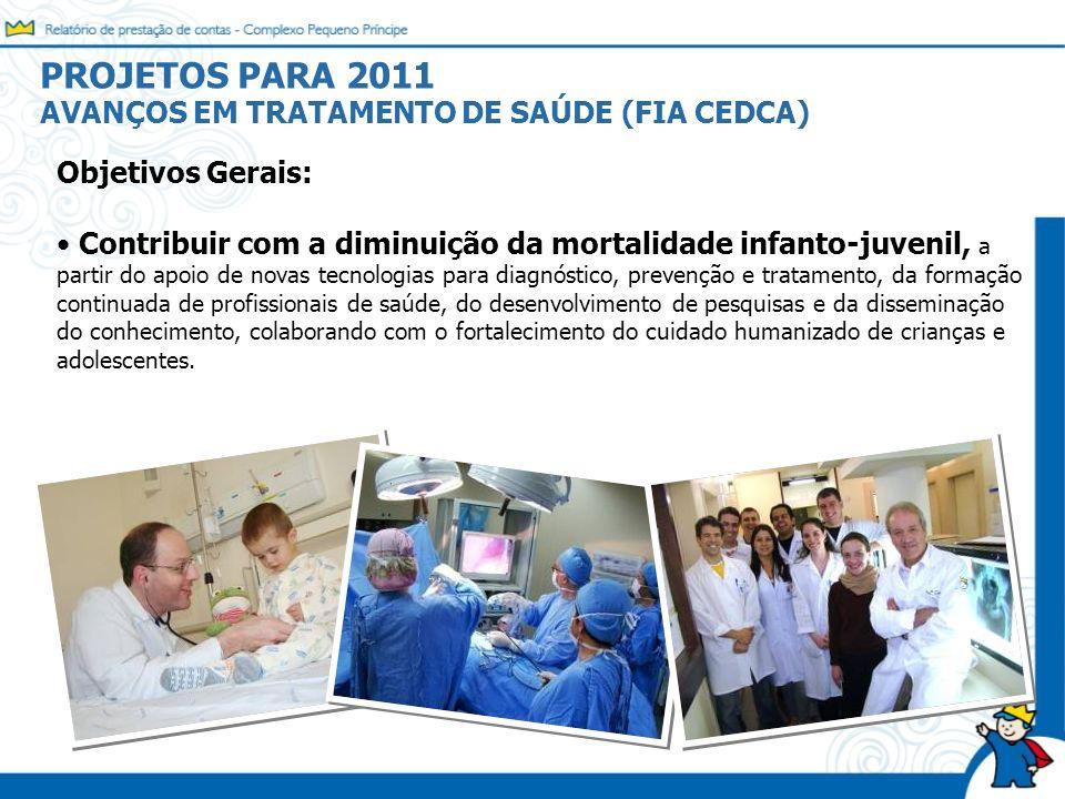 PROJETOS PARA 2011 AVANÇOS EM TRATAMENTO DE SAÚDE (FIA CEDCA) Objetivos Gerais: Contribuir com a diminuição da mortalidade infanto-juvenil, a partir d