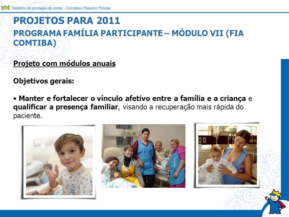 Projeto com módulos anuais Objetivos gerais: Manter e fortalecer o vínculo afetivo entre a família e a criança e qualificar a presença familiar, visan