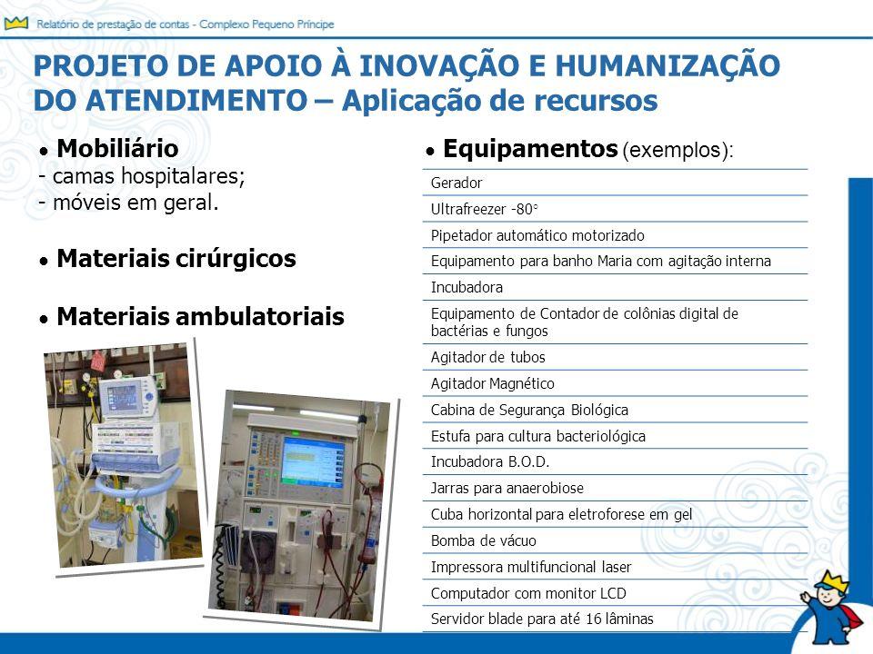 Mobiliário - camas hospitalares; - móveis em geral. Materiais cirúrgicos Materiais ambulatoriais PROJETO DE APOIO À INOVAÇÃO E HUMANIZAÇÃO DO ATENDIME