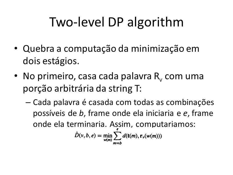 Two-level DP algorithm Quebra a computação da minimização em dois estágios. No primeiro, casa cada palavra R v com uma porção arbitrária da string T: