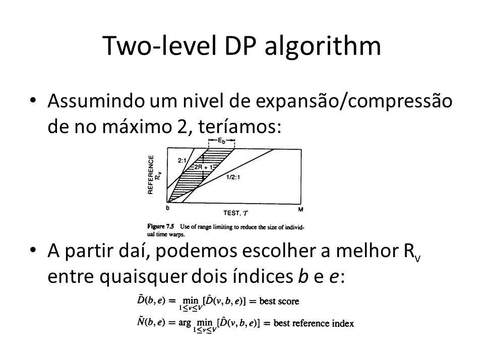 Two-level DP algorithm Assumindo um nivel de expansão/compressão de no máximo 2, teríamos: A partir daí, podemos escolher a melhor R v entre quaisquer