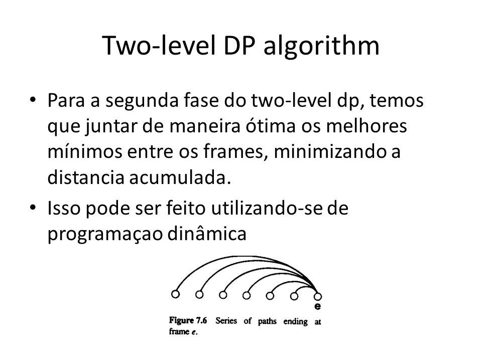Two-level DP algorithm Para a segunda fase do two-level dp, temos que juntar de maneira ótima os melhores mínimos entre os frames, minimizando a dista
