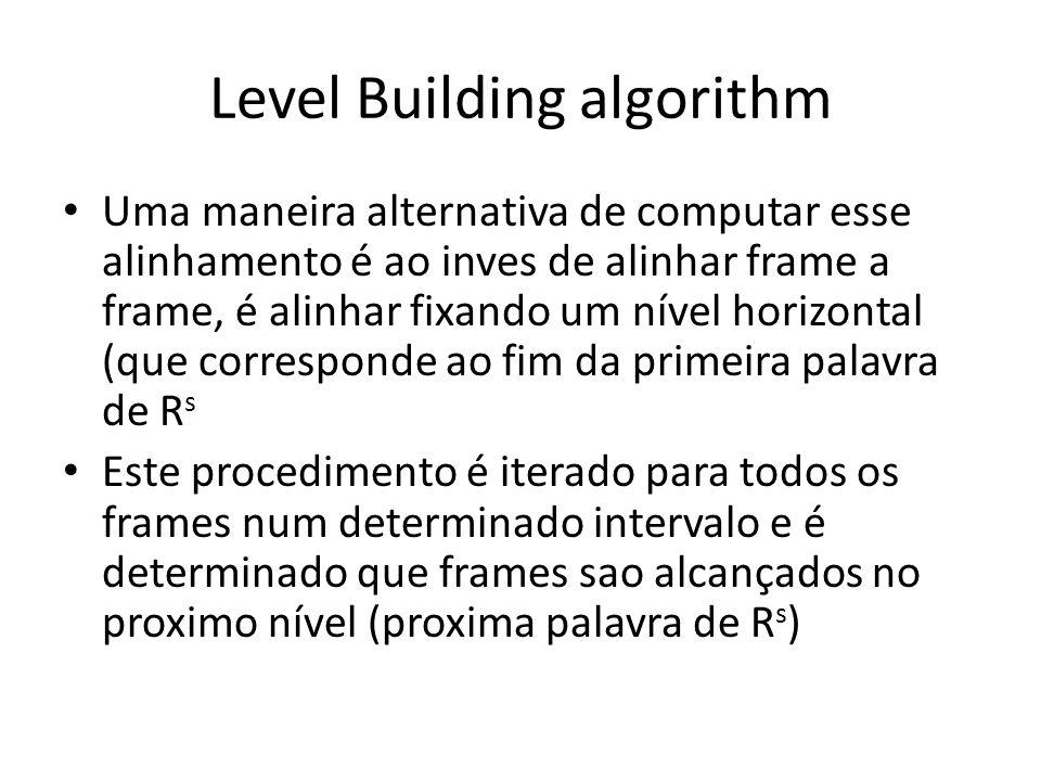 Level Building algorithm Uma maneira alternativa de computar esse alinhamento é ao inves de alinhar frame a frame, é alinhar fixando um nível horizont