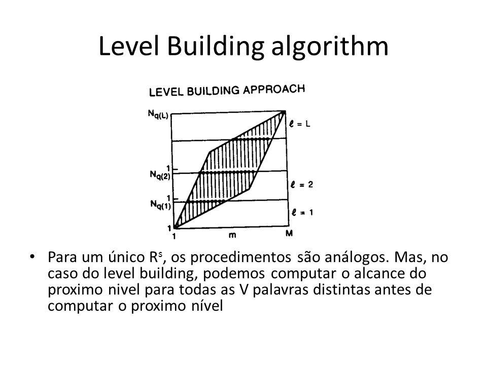 Level Building algorithm Para um único R s, os procedimentos são análogos. Mas, no caso do level building, podemos computar o alcance do proximo nivel