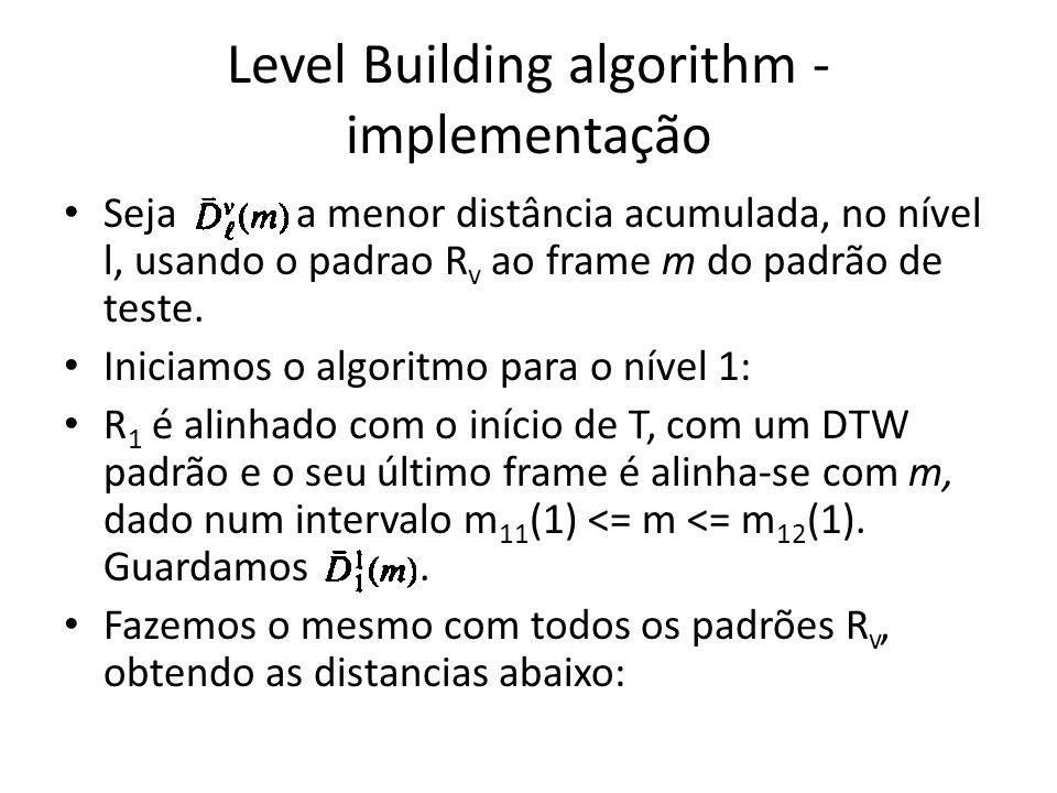 Level Building algorithm - implementação Seja a menor distância acumulada, no nível l, usando o padrao R v ao frame m do padrão de teste. Iniciamos o