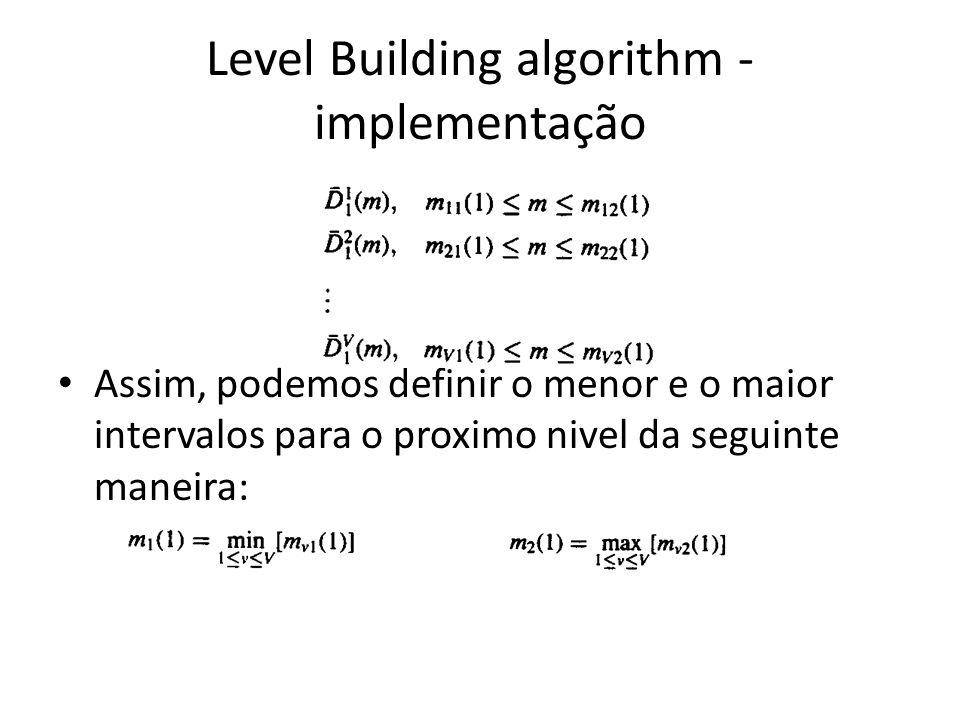 Level Building algorithm - implementação Assim, podemos definir o menor e o maior intervalos para o proximo nivel da seguinte maneira: