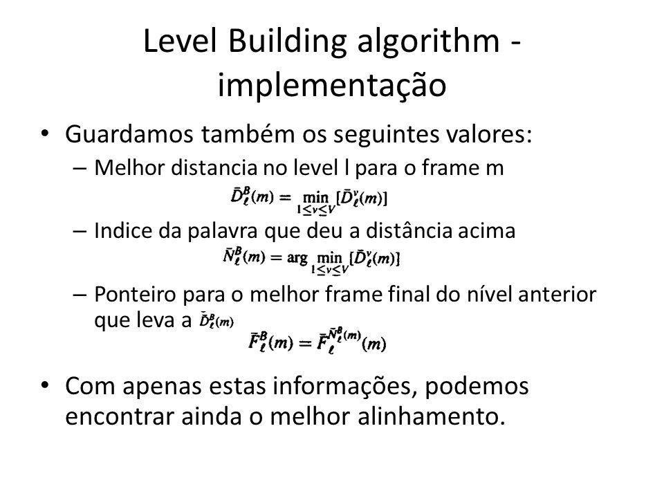 Guardamos também os seguintes valores: – Melhor distancia no level l para o frame m – Indice da palavra que deu a distância acima – Ponteiro para o me