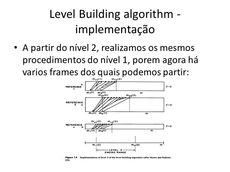Level Building algorithm - implementação A partir do nível 2, realizamos os mesmos procedimentos do nível 1, porem agora há varios frames dos quais po