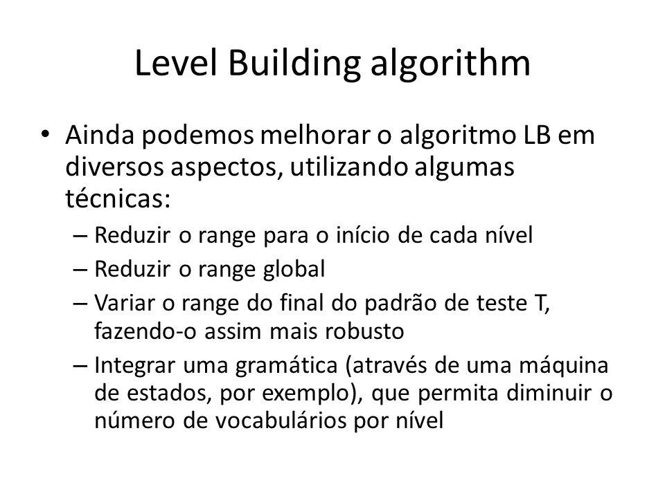 Level Building algorithm Ainda podemos melhorar o algoritmo LB em diversos aspectos, utilizando algumas técnicas: – Reduzir o range para o início de c